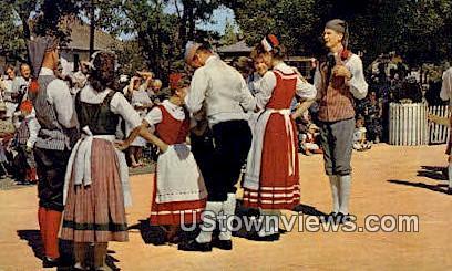 Danish Folk Dancers - Solvang, California CA Postcard