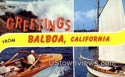 Greetings from - Balboa, California CA Postcard