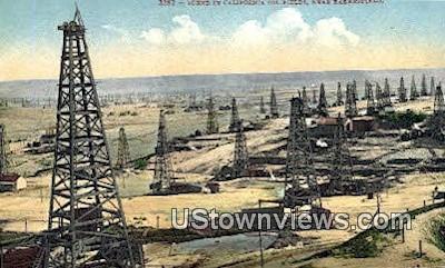 Oil Fields - Bakersfield, California CA Postcard