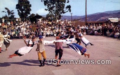 Whirling Danish Folk Dancers - Solvang, California CA Postcard