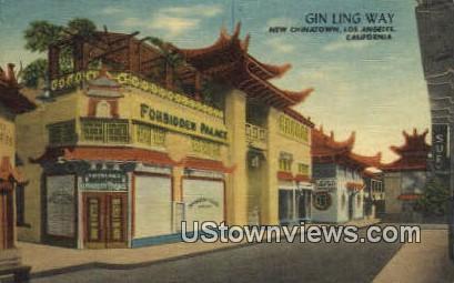 Gin Ling Way, New Chinatown - Los Angeles, California CA Postcard