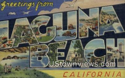 Greetings from - Laguna Beach, California CA Postcard
