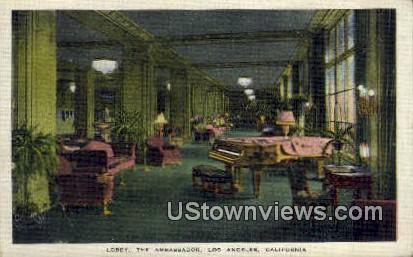 Lobby, The Ambassador - Los Angeles, California CA Postcard