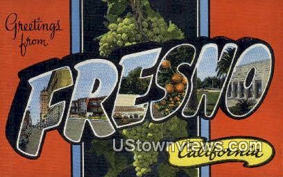 Greetings from - Fresno, California CA Postcard