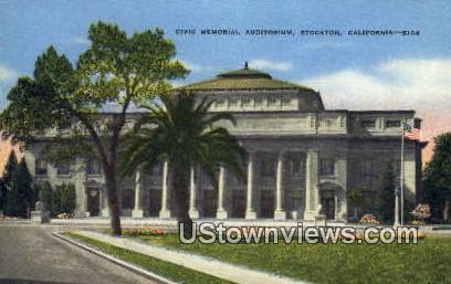 Civic Memorial Auditorium - Stockton, California CA Postcard