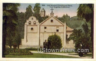 Old Mission Church & Plaza - Los Angeles, California CA Postcard