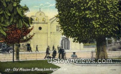 Old Mission & Plaza - Los Angeles, California CA Postcard