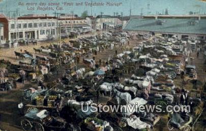 Vegetable Market - Los Angeles, California CA Postcard