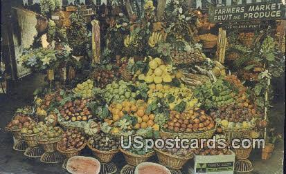 Produce at Farmers Market - Los Angeles, California CA Postcard