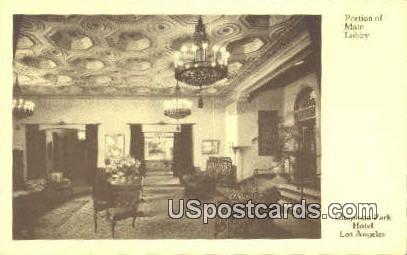 Portion of Main Lobby, Chapman Park Hotel - Los Angeles, California CA Postcard