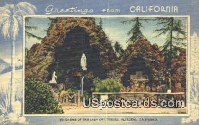 Shrine of Our Lady of Lourdes - Altadena, California CA Postcard