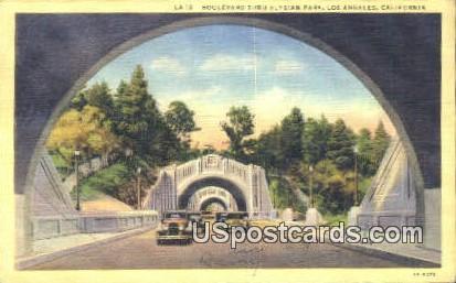 Boulevard Thru Elysian Park - Los Angeles, California CA Postcard