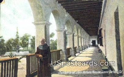 Corridor, Santa Barbara Mission - California CA Postcard