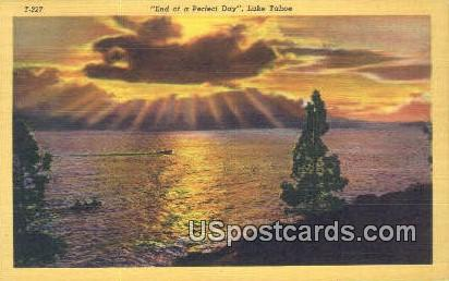 End of a Perfect Day - Lake Tahoe, California CA Postcard