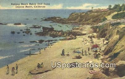 Bathing Beach Below Cliff Drive - Laguna Beach, California CA Postcard