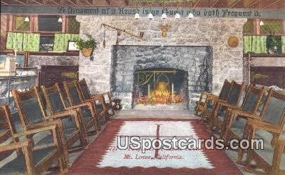 Fireplace, Ye Alpine Tavern - Mt. Lowe, California CA Postcard