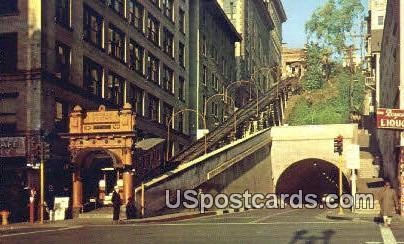 Angel's Flight, Third & Hill Streets - Los Angeles, California CA Postcard