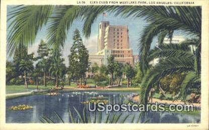 Elks Club, Westlake Park - Los Angeles, California CA Postcard