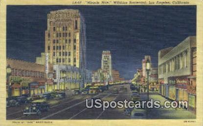 Miracle Mile, Wilshire Boulevard - Los Angeles, California CA Postcard