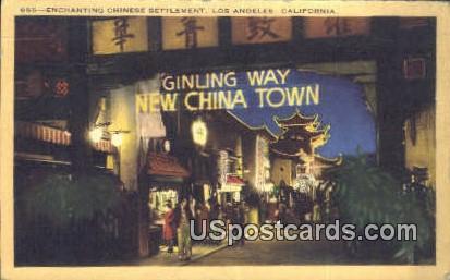 Enchanting Chinese Settlement - Los Angeles, California CA Postcard