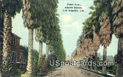 Palm Ave, Adams Street - Los Angeles, California CA Postcard