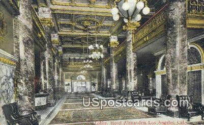 Lobby, Hotel Alexandria - Los Angeles, California CA Postcard