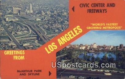 Civic Center & Freeway - Los Angeles, California CA Postcard