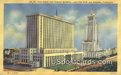 Post Office & Federal Building, City Hall - Los Angeles, California CA Postcard