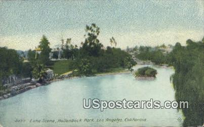 Lake, Hollenbeck Park - Los Angeles, California CA Postcard