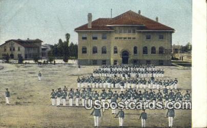 Drilling at the Harvard Military Academy - Los Angeles, California CA Postcard