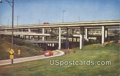 Freeway System, Civic Center - Los Angeles, California CA Postcard