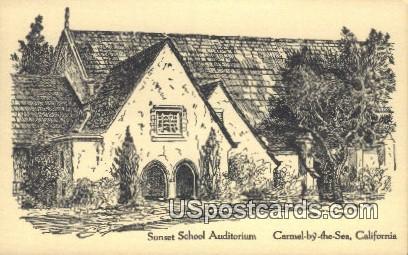Sunset School Auditorium - Carmel by the Sea, California CA Postcard
