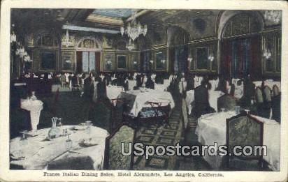 Franco Italian Dining Salon, Hotel Alexandria - Los Angeles, California CA Postcard