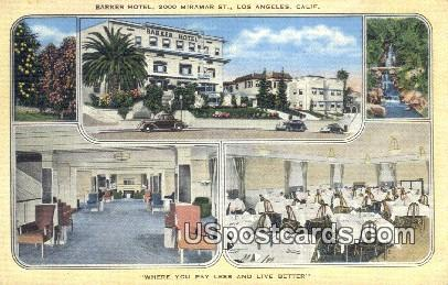 Barker Hotel - Los Angeles, California CA Postcard