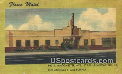 Flores Motel - Los Angeles, California CA Postcard