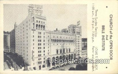 Church of the Open Door & Bible Institute - Los Angeles, California CA Postcard