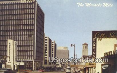 Miracle Mile, Wilshire Boulevard - Los Angeles, California CA Postcard