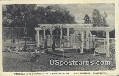Pergola & Fountain in a private home - Los Angeles, California CA Postcard