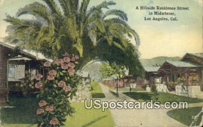 Hillside Residence Street - Los Angeles, California CA Postcard