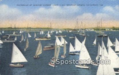 Anchorage of Newport Harbor Yacht Club - California CA Postcard