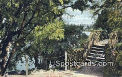 Rustic Bridge, West Lake Park - Los Angeles, California CA Postcard
