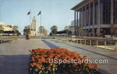 City Hall & Music Center - Los Angeles, California CA Postcard