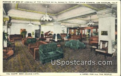Lobby, Hotel Rosslyn - Los Angeles, California CA Postcard