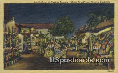 Street of Mexican Bazaars, Olvera Street - Los Angeles, California CA Postcard