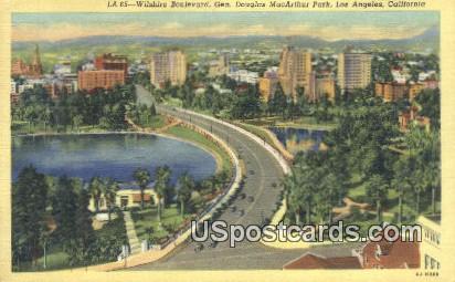 Wilshire Boulevard,Gen Douglas MacArthur Park - Los Angeles, California CA Postcard