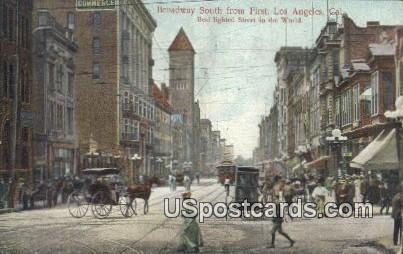 Broadway South - Los Angeles, California CA Postcard