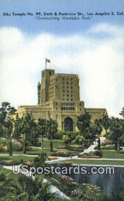 Elks Temple No 99 - Los Angeles, California CA Postcard