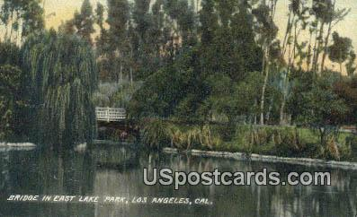 Bridge, East Lake Park - Los Angeles, California CA Postcard