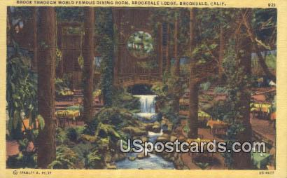 Dining Room, Brookdale Lodge - California CA Postcard