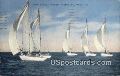 Yacht Racing - Newport Harbor, California CA Postcard